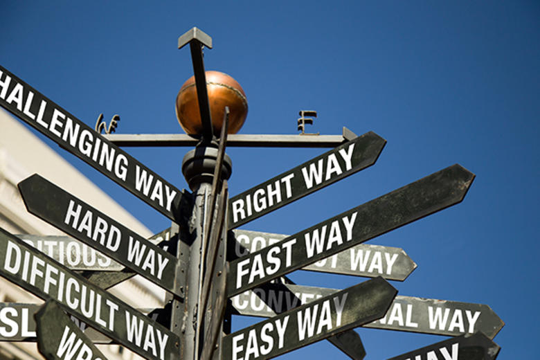 signpost with different ways to make a decision