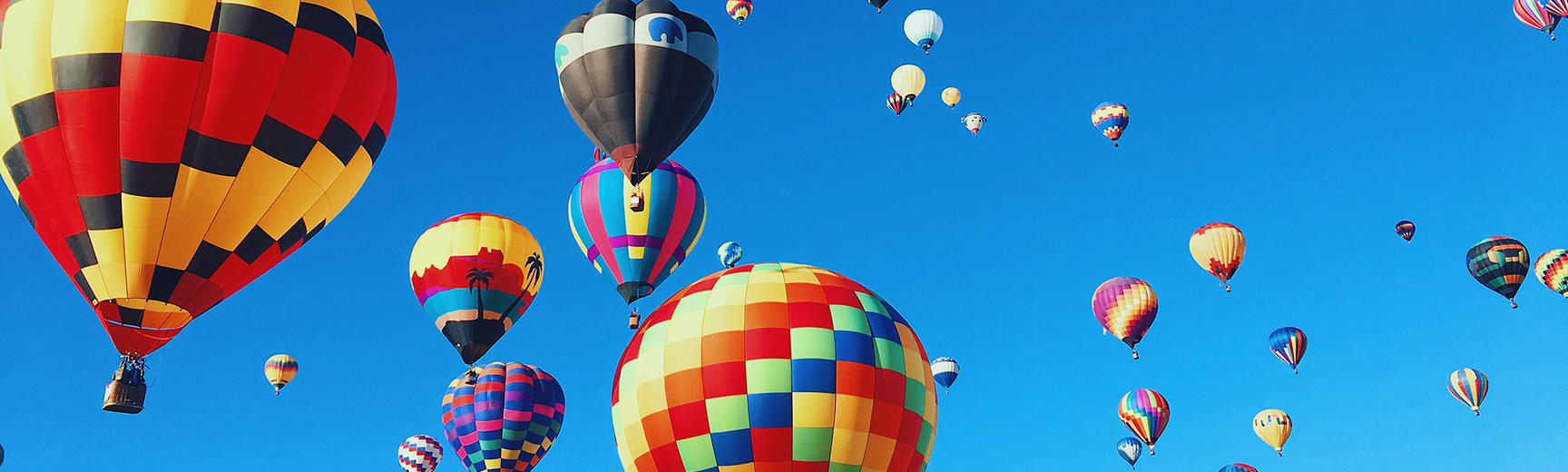 hot air balloons and blue sky