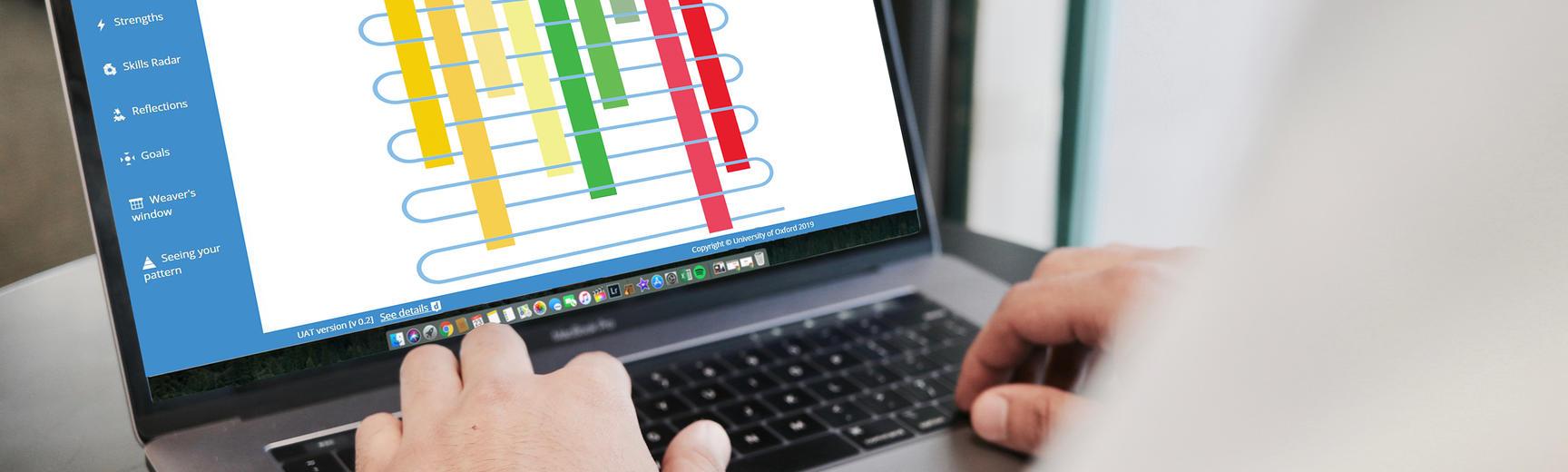 Career Weaver app on a laptop