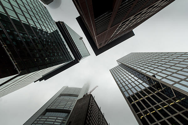 Four skyscrapers from ground perspective