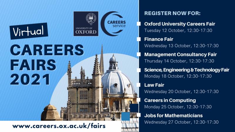 Oxford University Careers Fairs 2021 banner